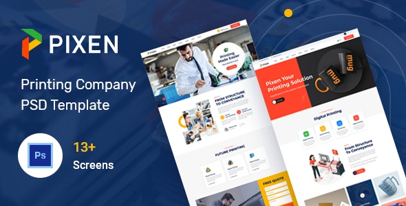 Pixen - Printing Services Company PSD Template - Business Corporate