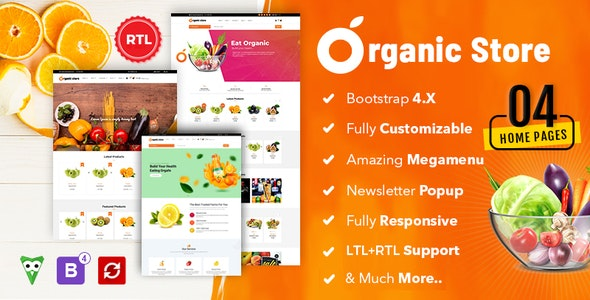 Organic store Bootstrap HTML5 Template - Food Retail