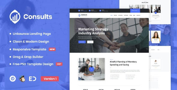 Consults - Consulting and Finance Unbounce Landing Page Template - Unbounce Landing Pages Marketing