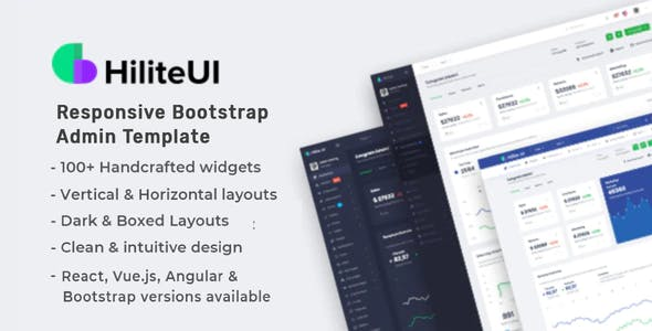 HiliteUI Responsive Bootstrap and React Admin Template