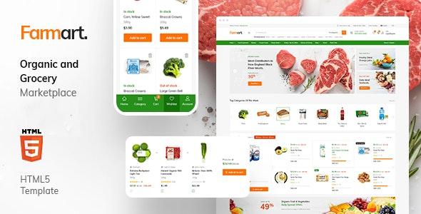 Farmart - Organic Marketplace eCommerce HTML Template - Food Retail