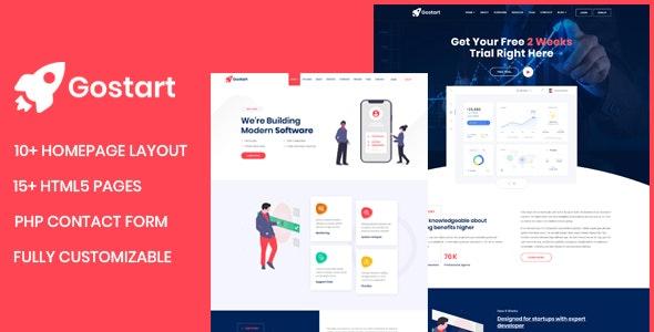 Gostart - Startup Landing Page - Software Technology