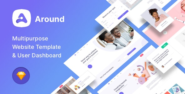 Around - Multipurpose Website Template & User Dashboard - Sketch UI Templates