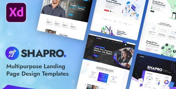 Shapro - Multipurpose Landing Page Design XD Templates - Marketing Corporate