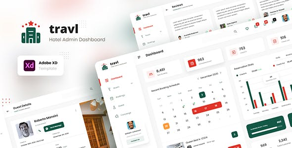 Travl - Hotel Admin Dashboard Template XD