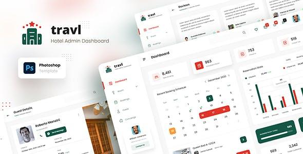 Travl - Hotel Admin Dashboard Template Photoshop PSD