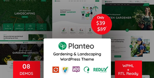 Planteo - Gardening and Landscaping WordPress Theme - Business Corporate