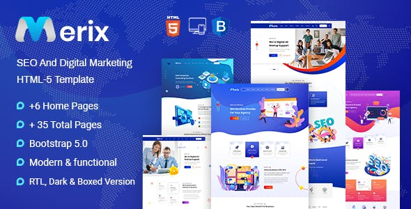 MERIX – Creative Digital Agency HTML-5 Template + RTL Ready