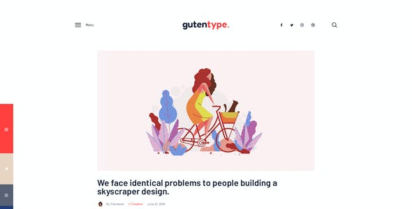 Gutentype | 100% Gutenberg WordPress Theme for Modern Blog + Elementor
