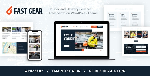 Fast Gear | Courier and Delivery Services Transportation WordPress Theme - Retail WordPress