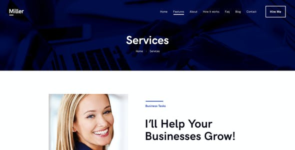Miller   Personal Assistant & Administrative Services WordPress Theme