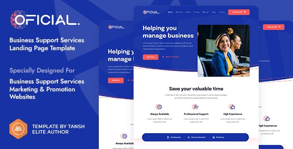 Oficial Business Support Services HTML Landing Page Template - Landing Pages Marketing