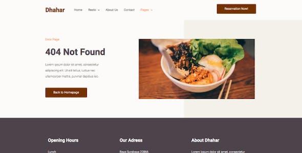 Dhahar - Restaurant Elementor Template Kit