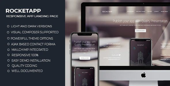 Rocket App - Responsive App Landing WordPress Theme