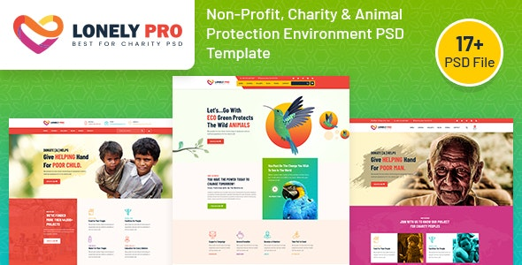LonelyPro - Non-Profit,Charity & Animal Protection Environment PSD Template - Charity Nonprofit