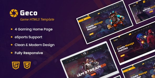 Geco - eSports Gaming HTML5 Template - Entertainment Site Templates