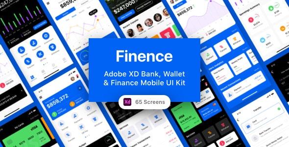 Finence - Adobe XD Bank, Wallet & Finance Mobile UI Kit - Business Corporate