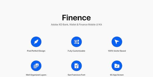 Finence - Adobe XD Bank, Wallet & Finance Mobile UI Kit
