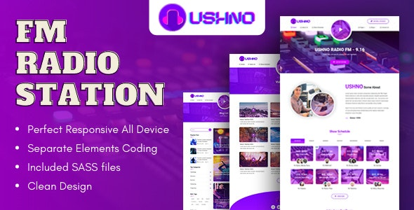 Ushno - FM Radio Station Bootstrap HTML Template - Music and Bands Entertainment