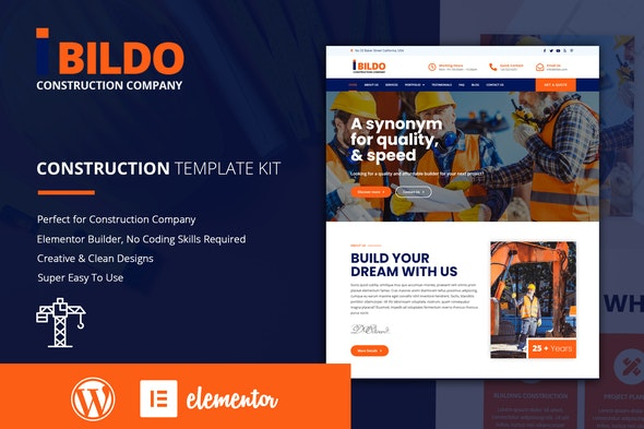 Bildo - Construction Elementor Template Kit - Real Estate & Construction Elementor