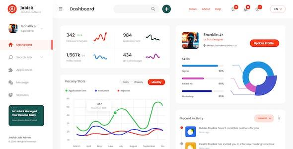 Jobick - Hiring Admin Dashboard Template XD