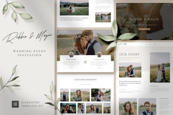 Robbie & Magie – Wedding Event Invitation Elementor Template Kit - Weddings Elementor