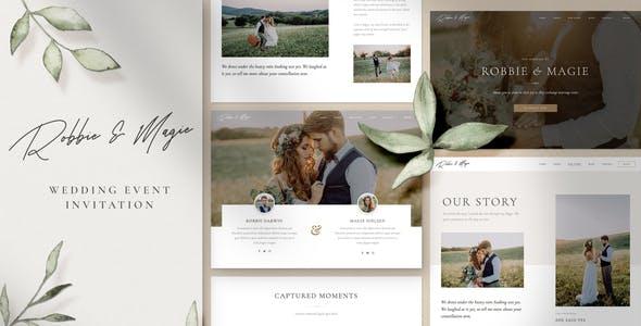 Robbie & Magie – Wedding Event Invitation Elementor Template Kit