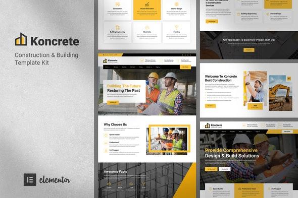 Koncrete - Construction & Building Template Kit - Business & Services Elementor