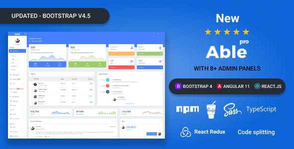 Able pro 8.0 Bootstrap 4, Angular 11 & React Redux Hook Admin Template