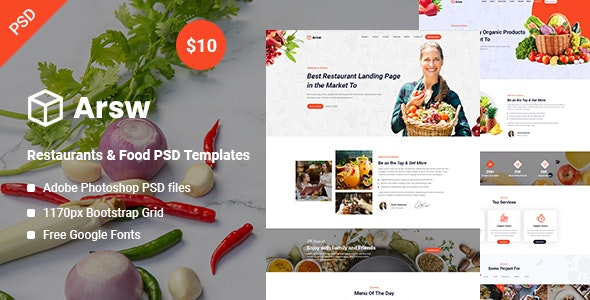 Arsw - Restaurants & Food PSD Templates - UI Templates