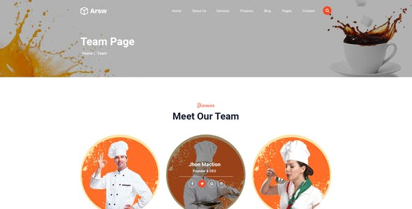 Arsw - Restaurants & Food PSD Templates