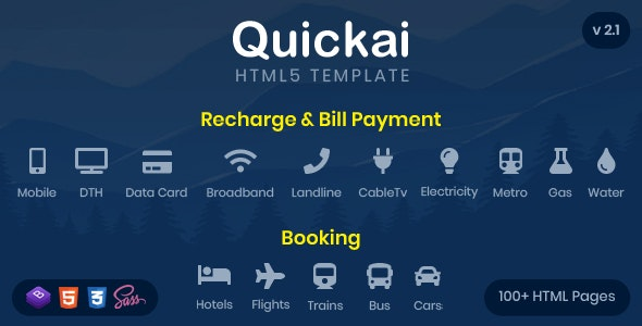Quickai - Recharge & Bill Payment, Booking HTML5 Template - Travel Retail