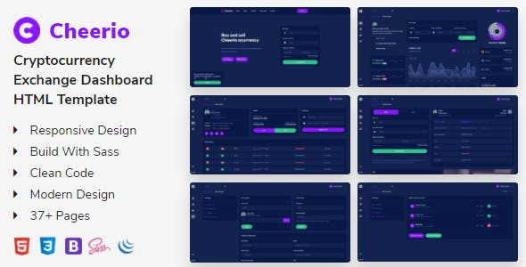 Cheerio - Cryptocurrency Exchange Dashboard Template