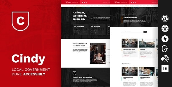 Cindy - Accessible Local Government WordPress Theme - Political Nonprofit