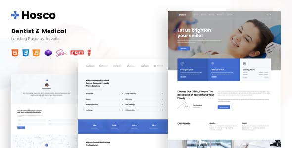 Hosco - Dentist & Medical Landing Page