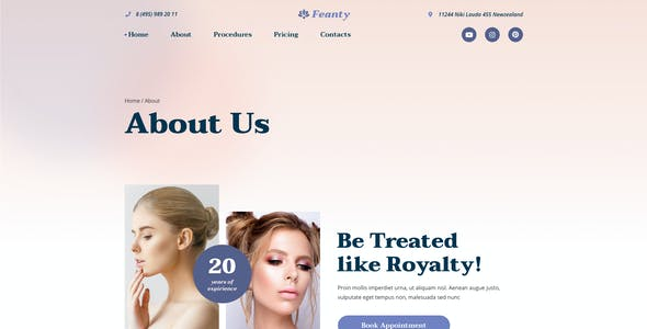 Feanty – Beauty Clinic Template for Sketch