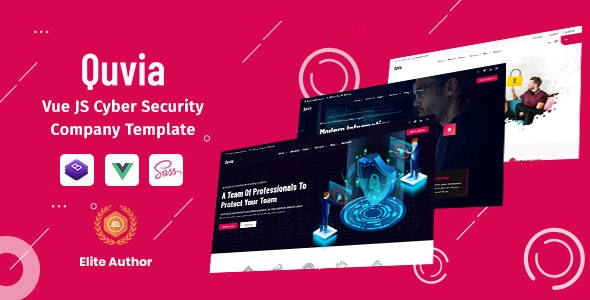 Quvia - Vue JS Cyber Security Company Template - Technology Site Templates