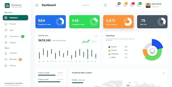Hoomeee - Elegant Admin Dashboard Template PSD