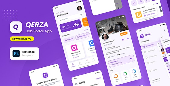Qerza - Job Portal iOS App Design PSD Template - Business Corporate