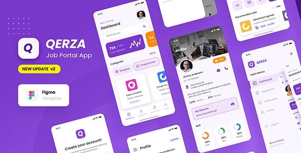 Qerza - Job Portal iOS App Design Figma Template - Business Corporate