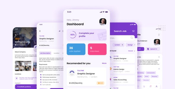 Qerza - Job Portal iOS App Design Figma Template
