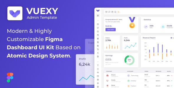 Vuexy – Figma Admin Dashboard UI Kit Template with Atomic Design System - Creative Figma