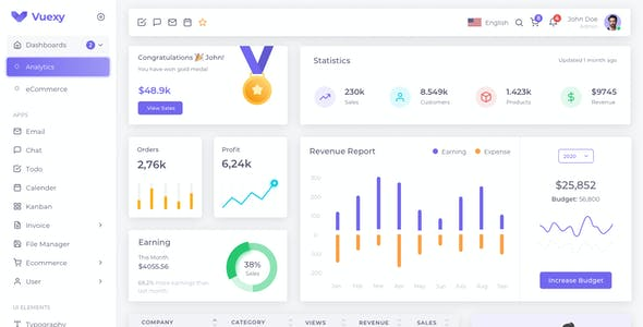 Vuexy – Sketch Admin Dashboard UI Kit Template with Atomic Design System