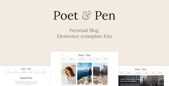 Poet & Pen - Personal Blog Elementor Template Kit