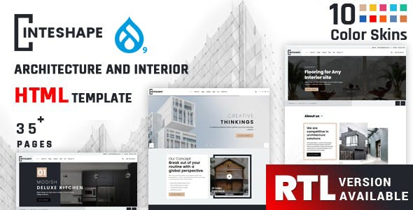 Inteshape - Architecture and Interior Drupal 9 & 8 Theme