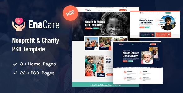 EnaCare - NonProfit & Charity Foundation PSD Template - Charity Nonprofit