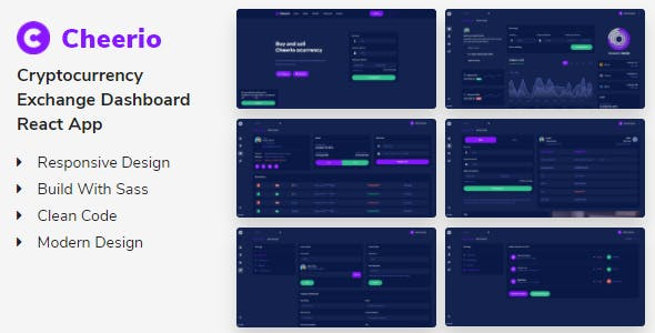Cheerio - Cryptocurrency Exchange Dashboard React App