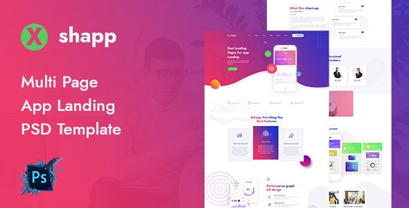 Xshapp - Multipage App Landing PSD Template - Software Technology