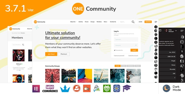OneCommunity - BuddyPress Membership Theme - BuddyPress WordPress