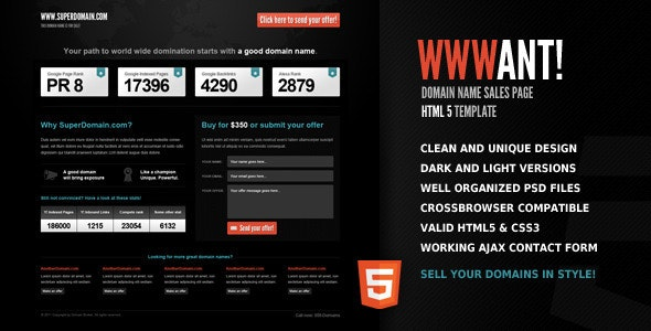 WWWant! - Domain Sales Landing Page HTML Template - Miscellaneous Specialty Pages